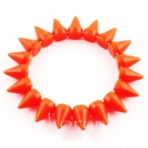 1447 Bransoletka neon KOLCE spike PUNK rock EMO orange