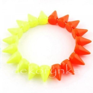 1450 Bransoletka neon KOLCE spike PUNK rock EMO yellow orange