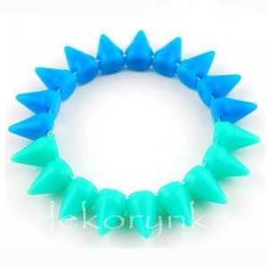 1449 Bransoletka neon KOLCE spike PUNK rock EMO sea blue